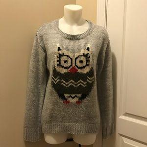 Rewind Gray Long-sleeve Owl Sweater Small